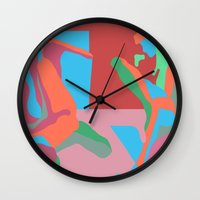 nudes Wall Clocks featuring three nudes by design lunatic