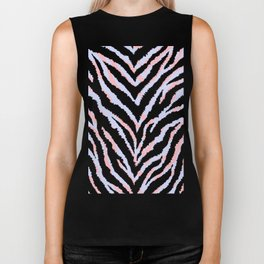 Pastel zebra fur texture - peachy and blue Biker Tank
