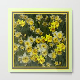 yellow  Daffodils Garden  Scene Art Metal Print