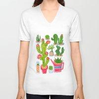 cactus V-neck T-shirts featuring Cactus by Hui_Yuan-Chang