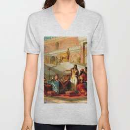 """Classical Masterpiece """"Esther Accusing Haman"""" by Frederick Bensell Unisex V-Neck"""