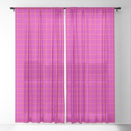 Magenta with Orange Grid Sheer Curtain
