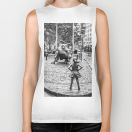 Fearless Girl & Charging Bull in the rain Biker Tank