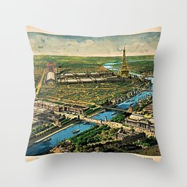 1910 Paris France French Cityscape Map Throw Pillow