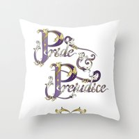 pride and prejudice Throw Pillows featuring Pride and Prejudice by Ketina