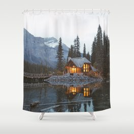 scenic beauty house in deep valley Shower Curtain