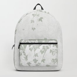 Soft Gray Green and White Trailing Ivy Leaf Print Backpack