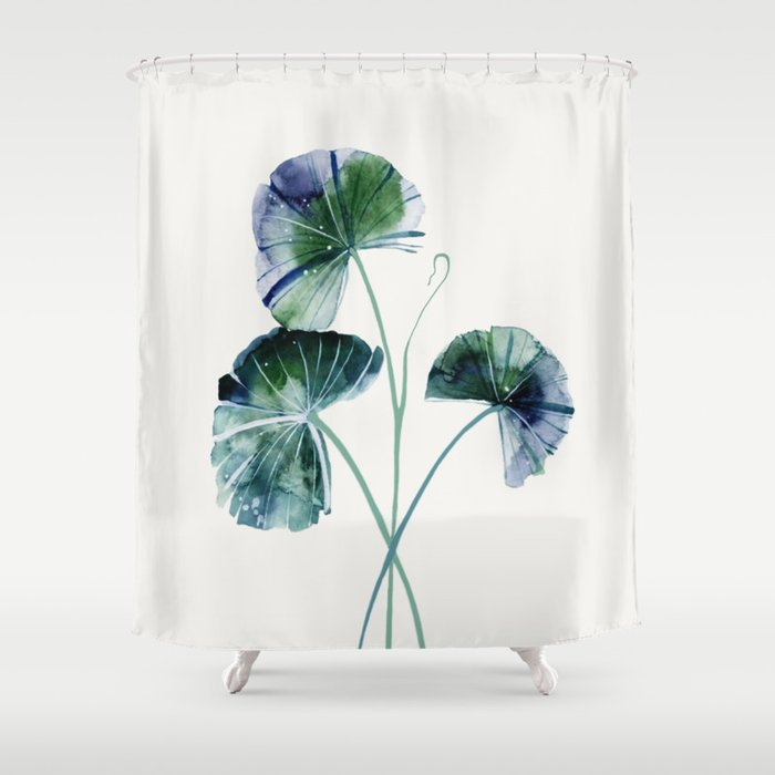 Water Lily Leaves Shower Curtain By Andreas12