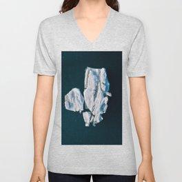 Lone, minimalist Iceberg from above - Landscape Photography Unisex V-Neck