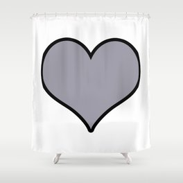 Pantone Lilac Gray Heart Shape with Black Border Digital Illustration, Minimal Art Shower Curtain