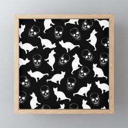 Skulls, Cats, Black and White, Pattern Framed Mini Art Print