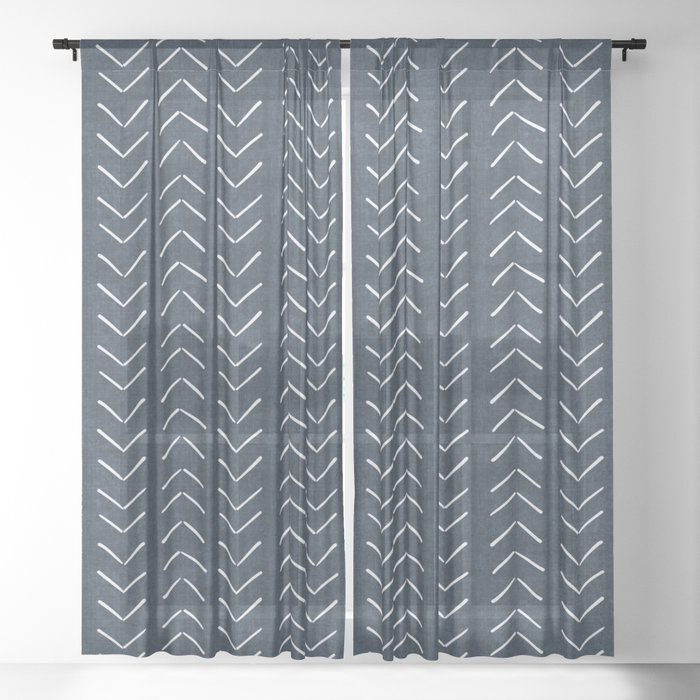 Mud Cloth Big Arrows in Navy Sheer Curtain