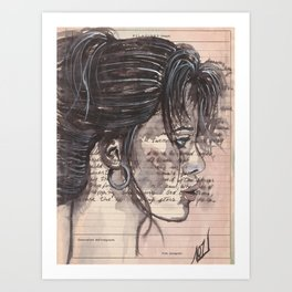 Handwritten letter with portrait Art Print