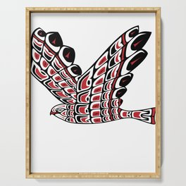 Red Tail Hawk Pacific Northwest Native American Style Art Serving Tray