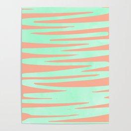 Sweet Life Soft Serve Peach Coral + Mint Meringue Poster