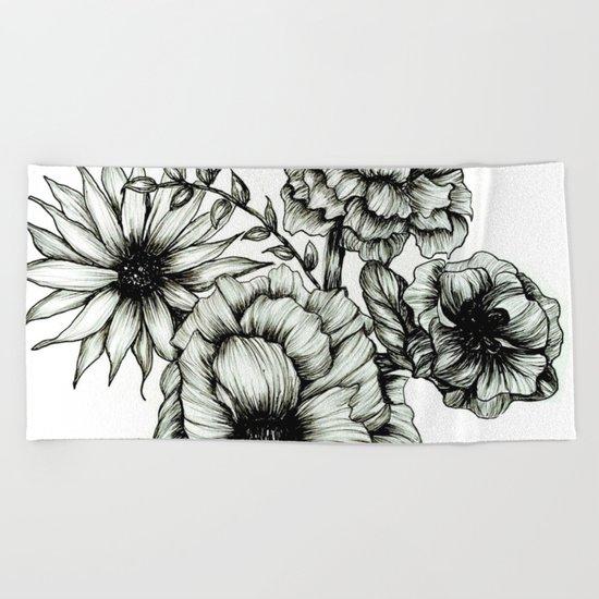 Floral Ink III Beach Towel