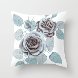 Winter roses stylized vintage art Throw Pillow