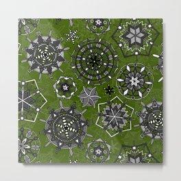 mandala snowflakes green Metal Print