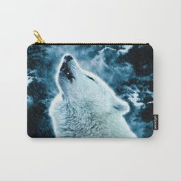 A howling wolf in the rain Carry-All Pouch