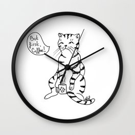 Cat with coffee Wall Clock