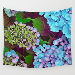 Hydrangea Pink and Blue Wall Tapestry