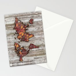 Abstract Natural Skin World Map Stationery Cards