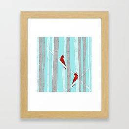 Holiday Forest Cardinals Design Framed Art Print