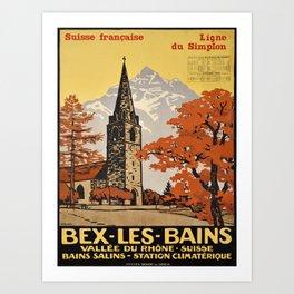 bex les bains suisse francaise vintage Poster Art Print