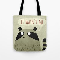 raccoon Tote Bags featuring Raccoon by Fuzzorama