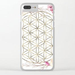 Flower of Life Rose Garden Gold Clear iPhone Case