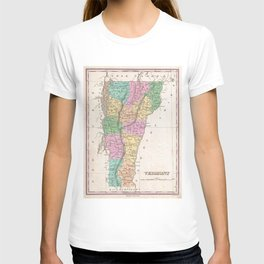 Vintage Map of Vermont (1827) T-shirt