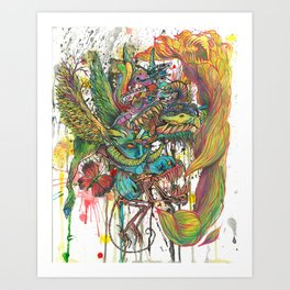 skeleton swimming Art Print
