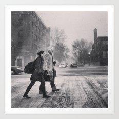 Snowy Walk Art Print