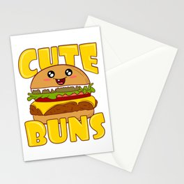 """""""Cute Buns"""" Delicious Burger Hamburger T-shirt Design Patty Buns Grilled Charcoal Cooked Ham Stationery Cards"""