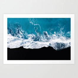 Black sand beach with waves and blue Ocean in Iceland – Minimal Photography Art Print