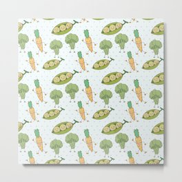 Cute funny greens orange blue polka dots vegetables Metal Print