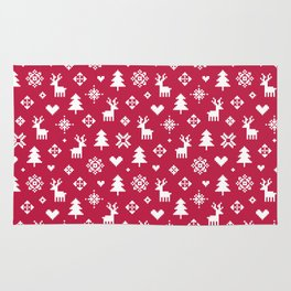 PIXEL PATTERN - WINTER FOREST RED Rug