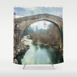 The hump-backed Roman Bridge Shower Curtain