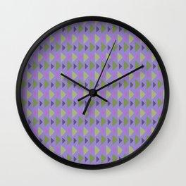 Geometrical purple green hand painted triangles pattern Wall Clock