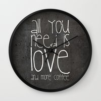 coffee Wall Clocks featuring COFFEe by Monika Strigel