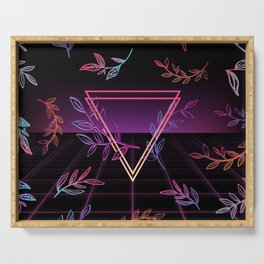 Synthwave Leaves Aesthetic Serving Tray