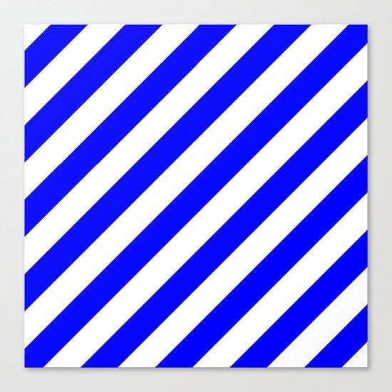 Diagonal Stripes (Blue/White) Canvas Print