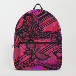 Filigree Butterfly Stencil Art | Chinoiserie Chic Watercolor Print  Charcoal Black, Hot Pink Backpack