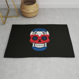 Sugar Skull with Roses and Flag of Costa Rica Rug