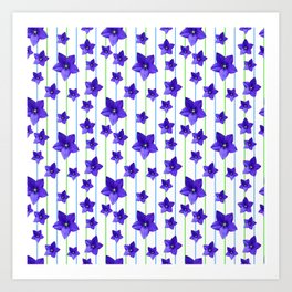 Flowers and Color Lines - Purple Art Print