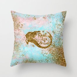 Faux Gold Glitter- REAL LIFE MERMAID On Sea Foam Throw Pillow