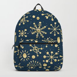 Hand Drawn Snowflakes Golden Backpack