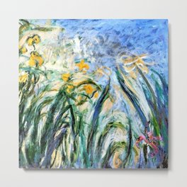 Claude Monet Yellow Irises and Malva Metal Print