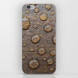Water Drops on Wood 5 iPhone Skin