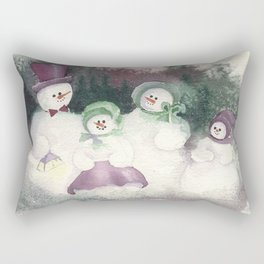 "Snow Family goes out for ""flake"" fry dinner Rectangular Pillow"